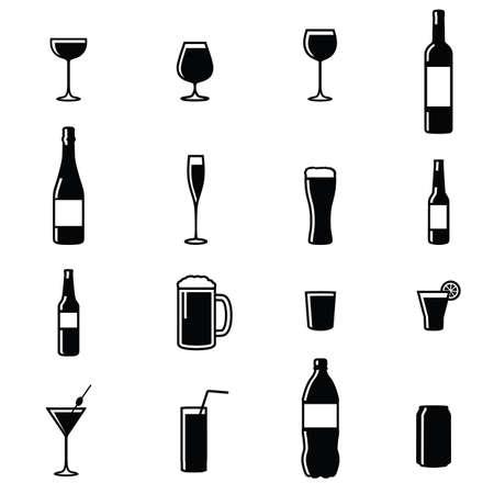 Reeks van zestien Drinks Zwart Wit Silhouet Vector Illustraties