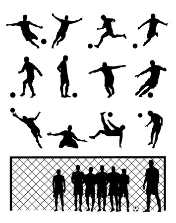 Set Of Soccer Player Football Black Vector Illustrations