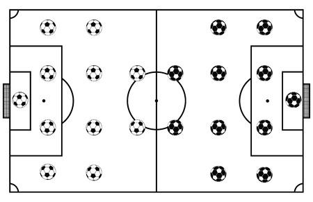 サッカー スタジアム フィールド黒ベクトル イラスト  イラスト・ベクター素材
