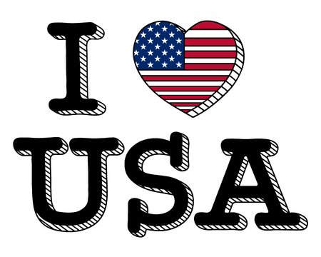 I Love USA Flag Vector Illustration