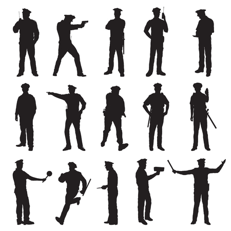 New York Police Set Of Fifteen Black Vector Silhouette Illustration