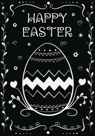 Happy Easter Vintage Hand Drown Greeting Card Vector Illustration