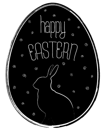 Happy Easter Vintage Black & White Egg Vector Illustration