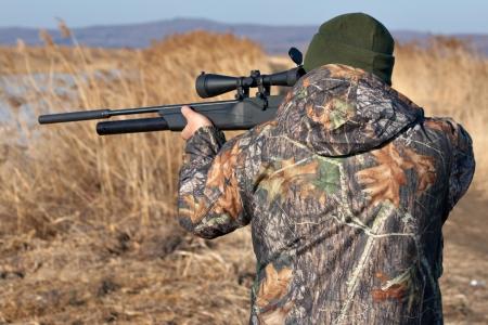 Close-up jager gericht met wapen in de openlucht jacht