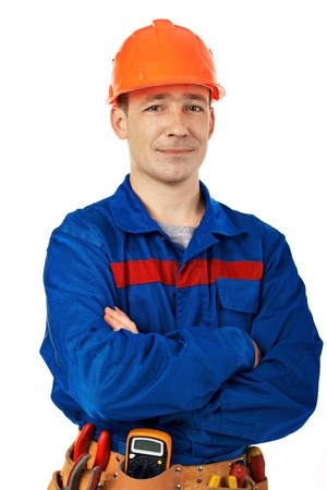 Tachnician man working class with equipment against white background Stock Photo - 10350481