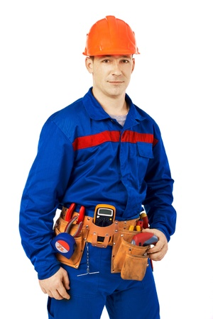 tehnology: Tachnician man working class with equipment against white background Stock Photo