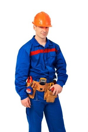 Tachnician man working class with equipment against white background Stock Photo - 10350472