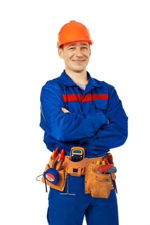 to fold one's arms: Tachnician man working class with equipment against white background Stock Photo