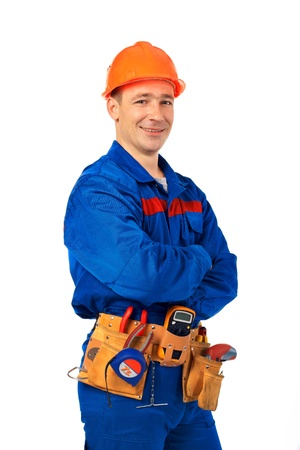 Tachnician man working class with equipment against white background photo