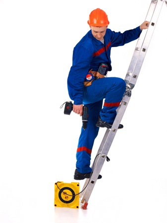 constraction: Tachnician man working class with equipment against white background Stock Photo