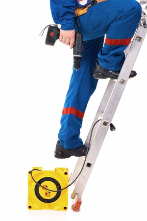 Close up legs Tecnician on the step-ladder against white background Stock Photo - 10399781