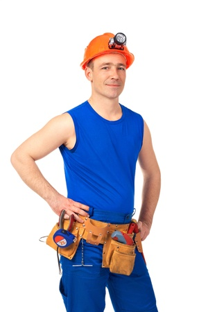 Technician in work wear after job against white background Stock Photo - 10399777
