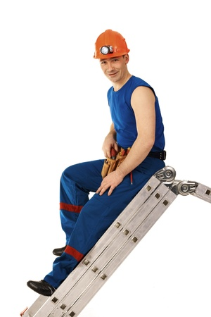 stepladder: Portrait technician man in workwear with instrument and step-ladder Stock Photo