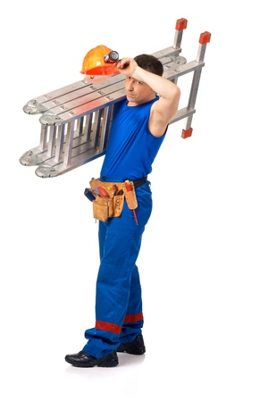 stepladder: Technician with step-ladder after job against white background