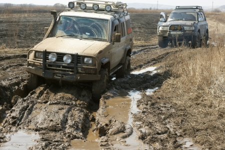 weekend activities: Tow offroad express in outdoore offroade adventure Stock Photo