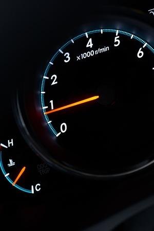 high torque: Close up velocity transducer on the dark background Stock Photo