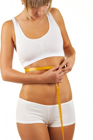 Close up portrait woman body with measurement ribbon Stock Photo - 11807332