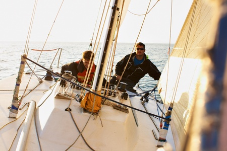 Yachting adventure people on the sea