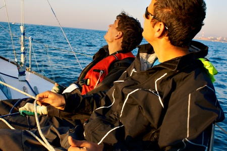Yaghting adventure people on the sea  Stock Photo