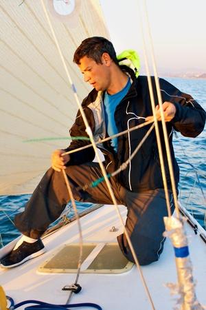 Yaghting adventure people on the sea  版權商用圖片