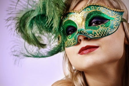 mascaras de carnaval: Retrato de mujer en la m�scara veneciana Foto de archivo