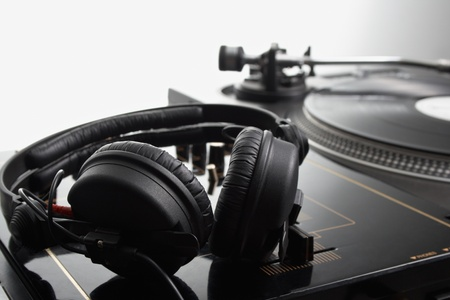 Close up headphone on the dj mixer in studio photo