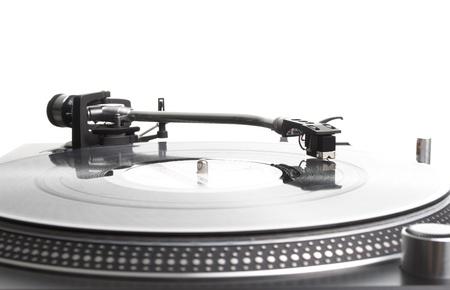 Close-up akoestische vinyl schijf speler met akoestisch pickup Stockfoto
