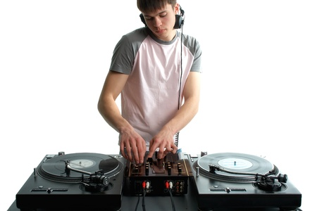 audio mixer: Young disk jockey for thw vinyl disks and mixer