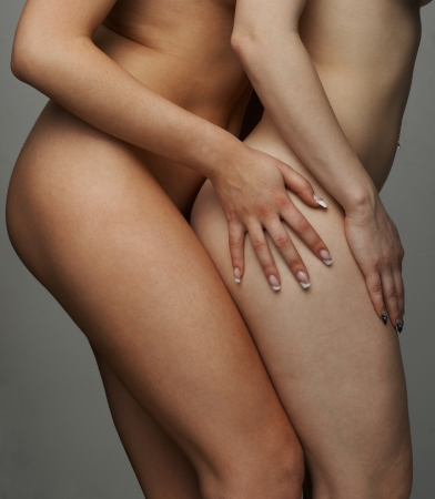 Close up naked body two woman in sexual temptetion