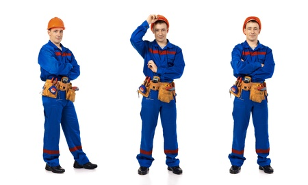 Technician men worker class against white background Stock Photo - 13240689