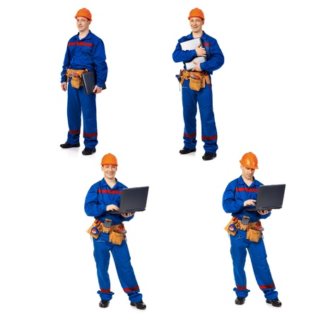 Workers with notebook against white background, collage photo