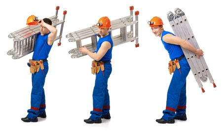 Three picture workers with step-leader against white background photo