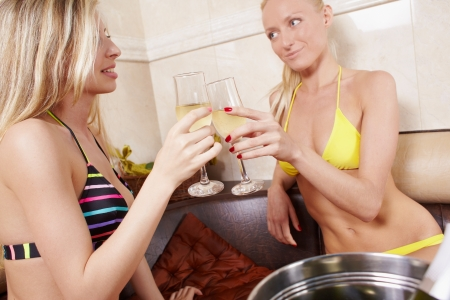 Girls party in spa centre with relax and communication Stock Photo - 14064903