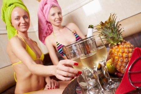 Girls party in spa centre with relax and communication photo