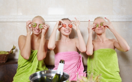Girls party in spa centre with relax and communication