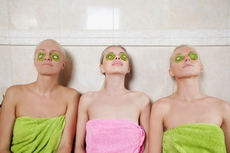 Womans in spa with natural face masks photo