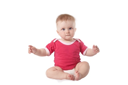 cleaness: Small baby in studio against white background