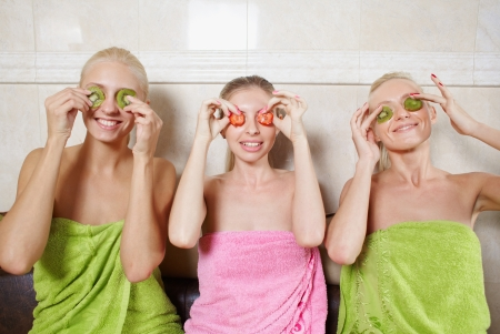 Womans in spa with natural face masks