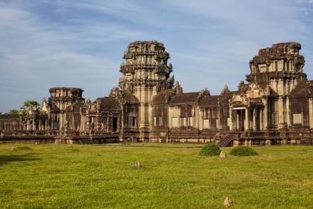 cambodia sculpture: Cambodian Ankgor temple ruins. East side Ankgor Wat