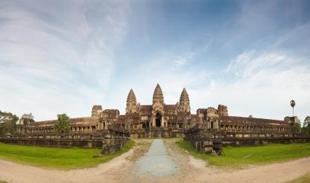 angkor wat: Panoramic picture Angkor Wat against blue sky Stock Photo