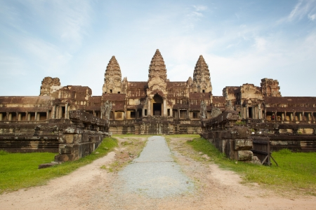 Entry in Angkor Wat in Cambodia against blue sky Stock Photo