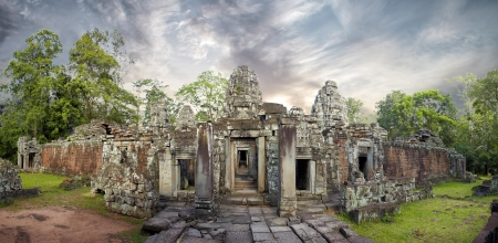 Cambodia, ruins ancient city Angkor wat in jungle, panoramic picture