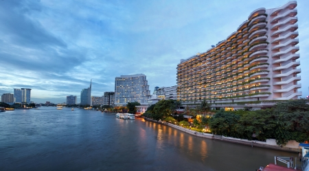 View on the Chao Praya river, and high towers Bangkok city photo