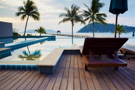 pool deck: Outdoor resort pool in asia tourist islands
