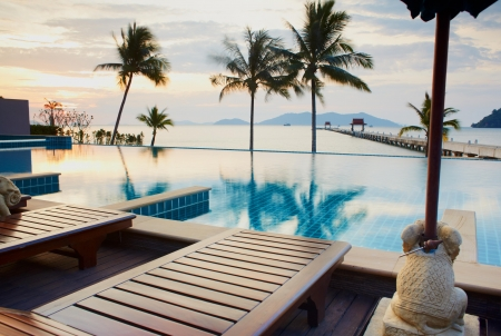 Outdoor resort pool in asia tourist islands photo