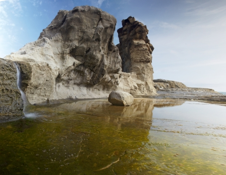 water s edge: Vista mare paesaggio, Oceano Indiano, Indonesia Java, Klayar spiaggia Foto panoramica Archivio Fotografico