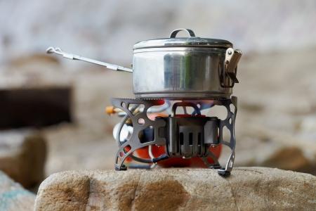 portative: Travel portative gas stove for bouling Stock Photo