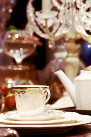Close up evening tableware in luxury style