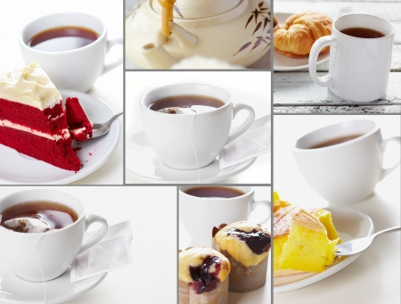 Collage tea style and bakery in light tonal photo