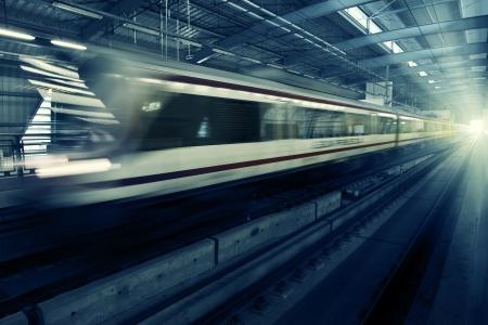 Speed motion Bangkok train on station photo
